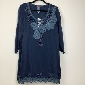 NWT Johnny Was Embroidered Tunic Top in Blue